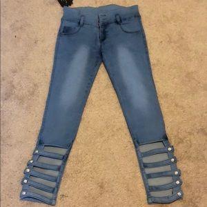 Denim - Caged Skinny Jeans